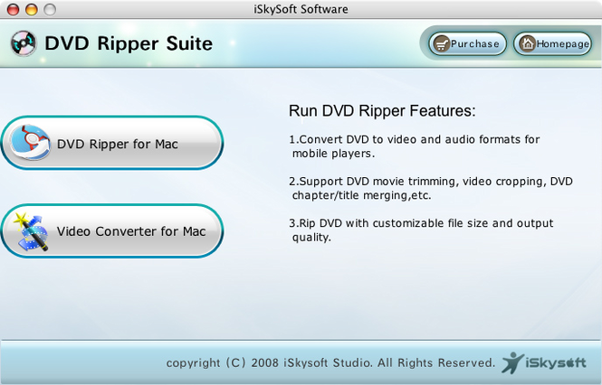 iSkysoft DVD Ripper Pack for Mac Screenshot 1