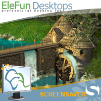 Watermill by Waterfall - Animated Screensaver Screenshot