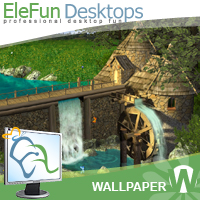 Watermill by Waterfall - Animated Wallpaper Screenshot