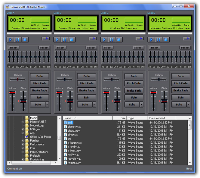 ConvexSoft DJ Audio Mixer Screenshot