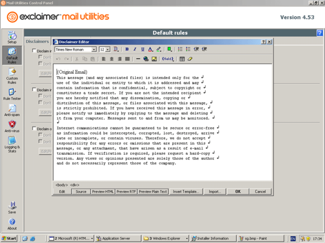 Exclaimer Mail Utilities 2007 Screenshot