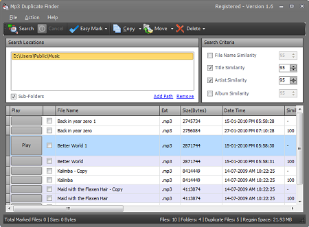 Mp3 Duplicate Finder Screenshot 1