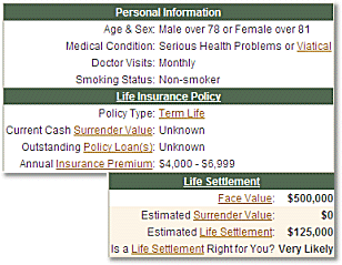 Life Settlement Viatical Calculator Screenshot