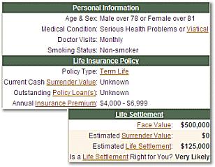 Life Settlement Viatical Calculator Screenshot 1
