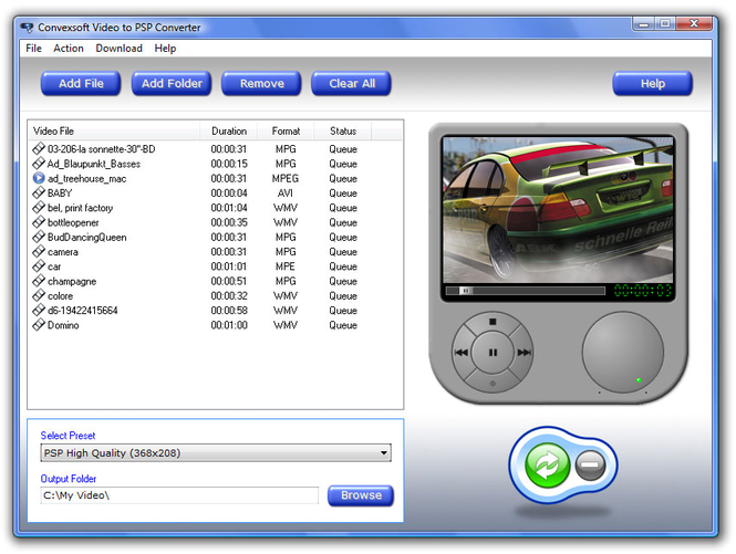 ConvexSoft Video to PSP Converter Screenshot
