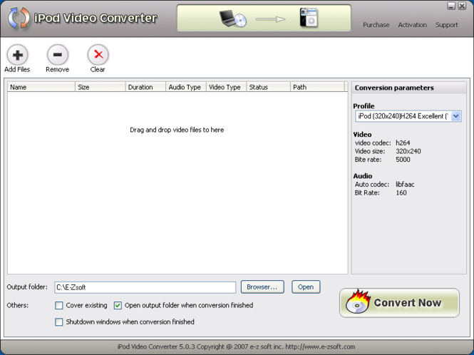 E-Zsoft iPod Video Converter Screenshot 1