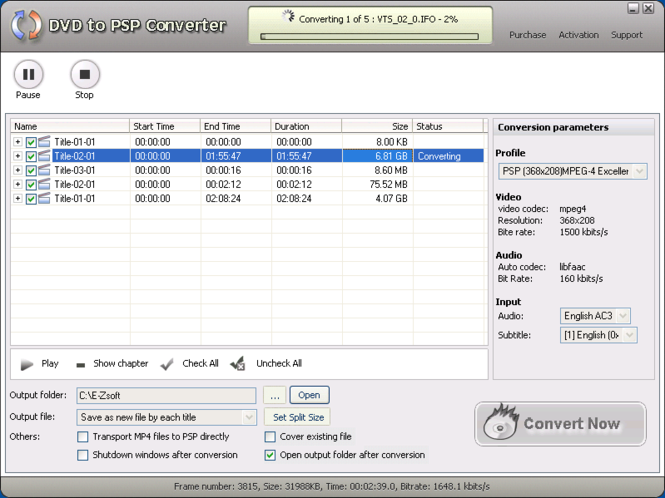 E-Zsoft DVD to PSP Converter Screenshot