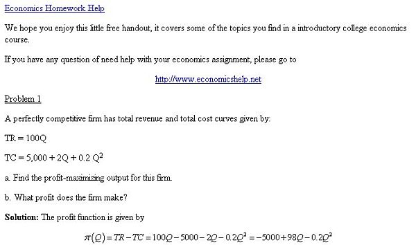 Economics Help Screenshot