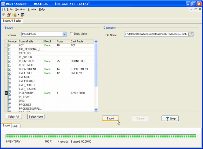 DB2ToAccess Screenshot 1