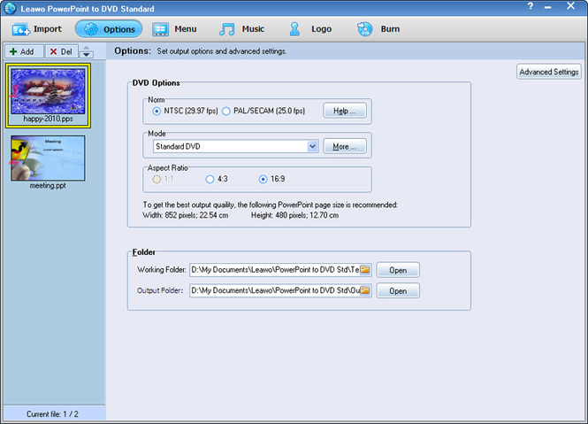 Leawo PowerPoint to DVD Standard Screenshot