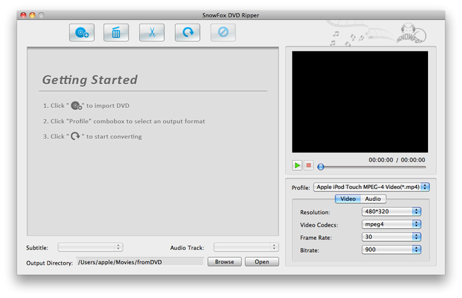 SnowFox DVD Ripper for Mac Screenshot