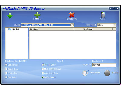 McFunSoft MP3 CD Burner Screenshot