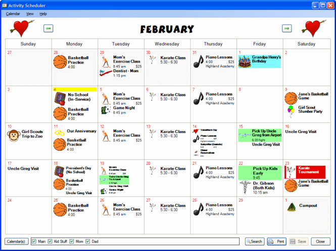 Activity Scheduler 2008 Screenshot 1