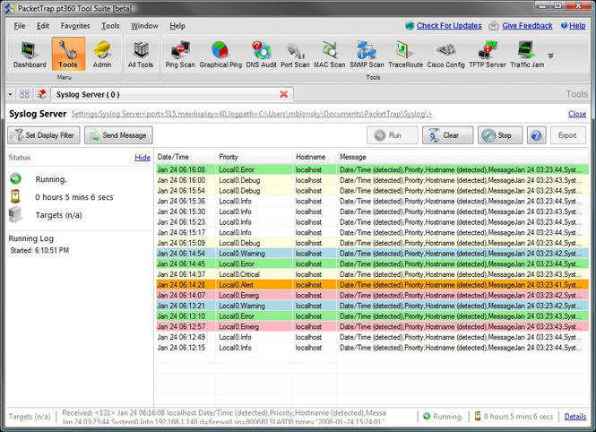 Free PacketTrap Syslog Server Screenshot 1