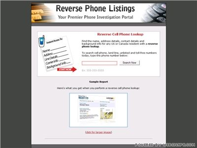 Reverse Cell Phone Lookup Screenshot