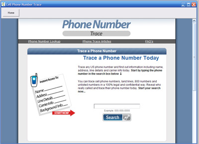 Reverse Phone Number Trace Screenshot