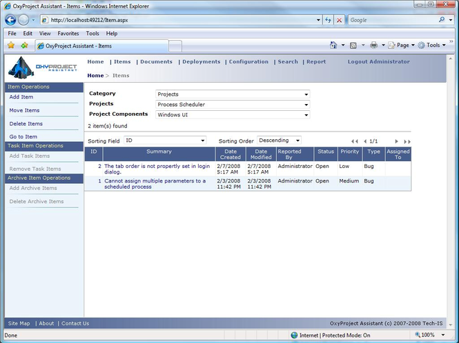 OxyProject Assistant Screenshot