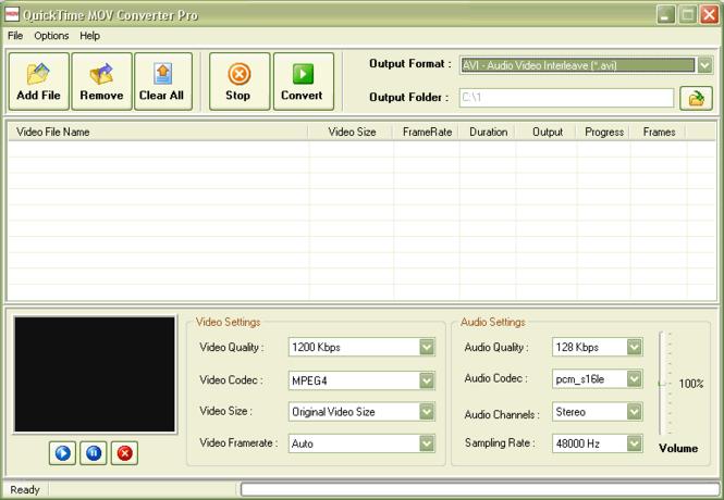 QuickTime MOV Converter Pro Screenshot