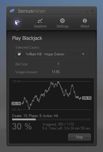BonusMiner Blackjack bot Screenshot