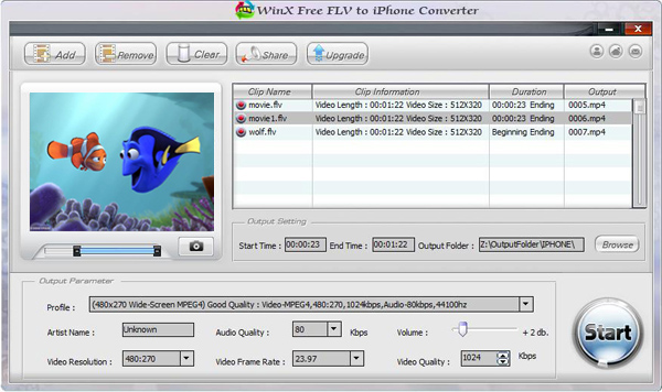 WinX Free FLV to iPhone Video Converter Screenshot