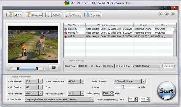 WinX Free FLV to MPEG Video Converter Screenshot