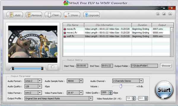 WinX Free FLV to WMV Video Converter Screenshot