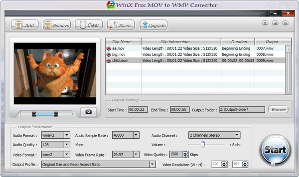 WinX Free MOV to WMV Converter Screenshot 1