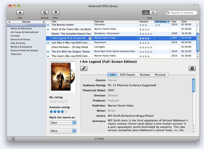 Aimersoft DVD Library for Mac Screenshot 1