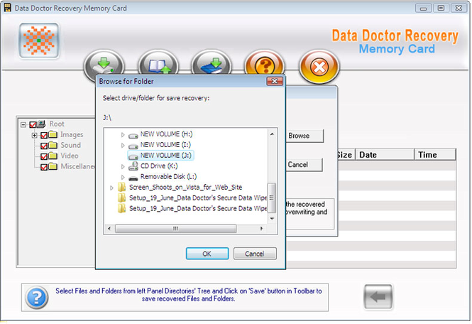 Memory Card Data Repair Tool Screenshot