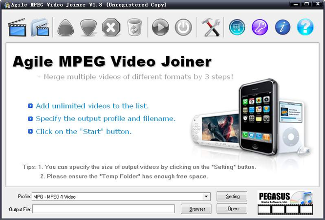 Agile MPEG Video Joiner Screenshot