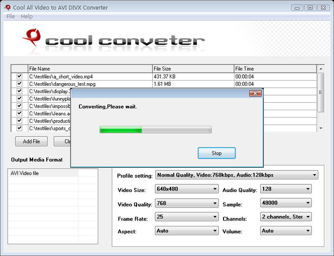 Cool All Video to AVI DIVX Converter Screenshot