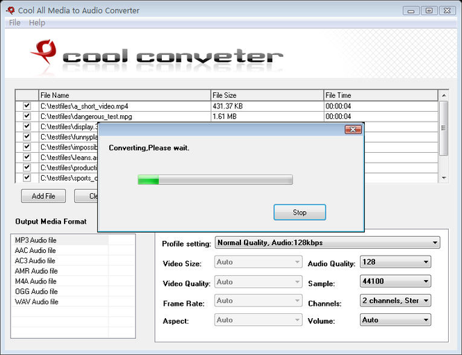 Cool All Media to Audio Converter Screenshot 1