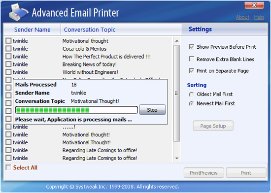 Advanced Email Printer Screenshot