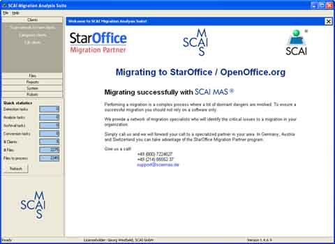 SCAI MAS One Office Client License Screenshot 1