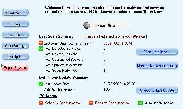 Omniquad AntiSpy Screenshot
