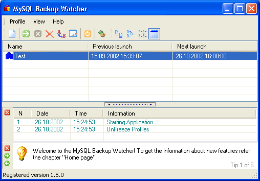 Backup Watcher for MySQL - Standart Edition Screenshot