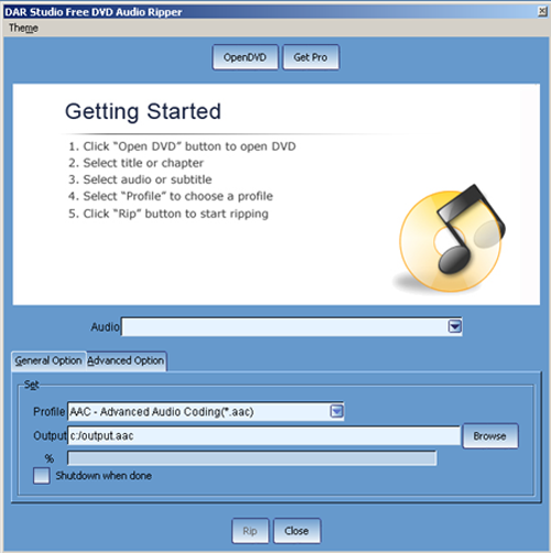 Free DVD Audio Ripper Screenshot