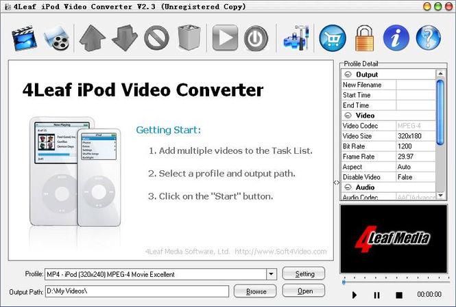 4Leaf iPod Video Converter Screenshot 1