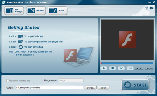 SnowFox Video to Flash Converter Screenshot