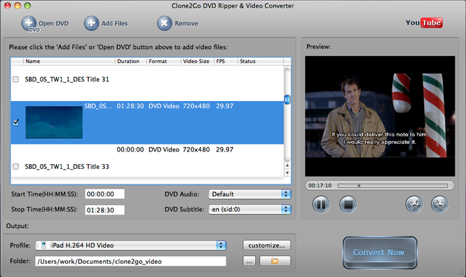 Clone2Go DVD to iPod Converter for Mac Screenshot 1