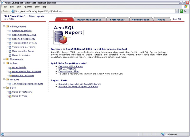 Apex SQL Report Screenshot