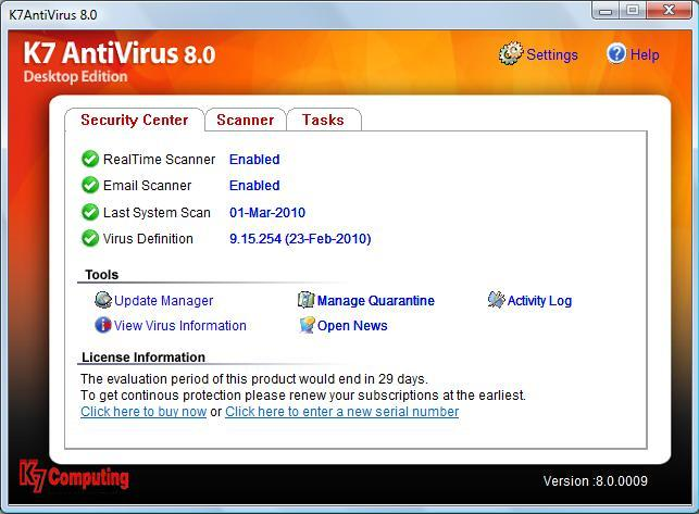 K7 Antivirus Screenshot