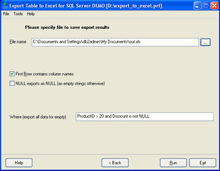 Export Database to Excel for SQL server Screenshot