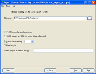 Export Database to Text for SQL server Screenshot