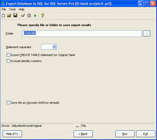 Export Database to SQL for SQL server Screenshot