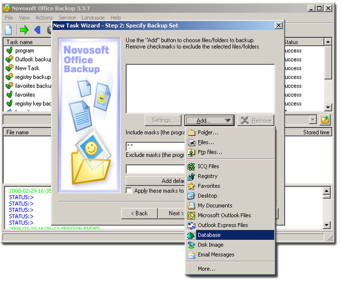 Novosoft Office Backup Home Screenshot