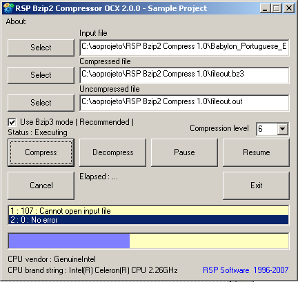 RSP Bzip2 Compressor OCX Screenshot
