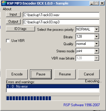 RSP MP3 Encoder OCX Screenshot
