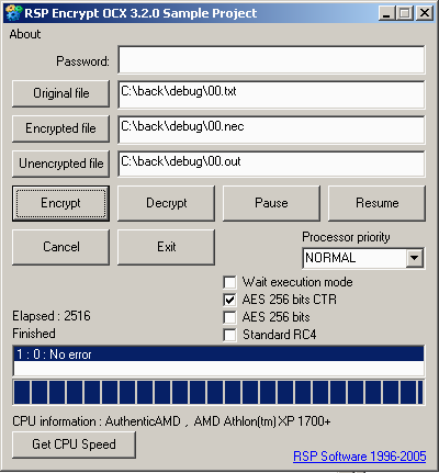 RSP Encrypt OCX Screenshot