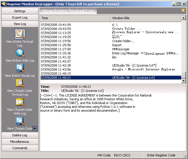 Hogense monitor keylogger Screenshot